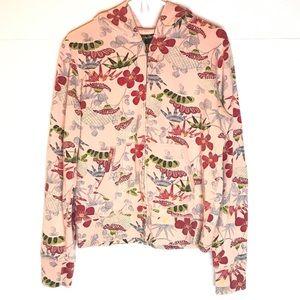 Lucky Brand Hoodie Sweatshirt Pink Tropical LG